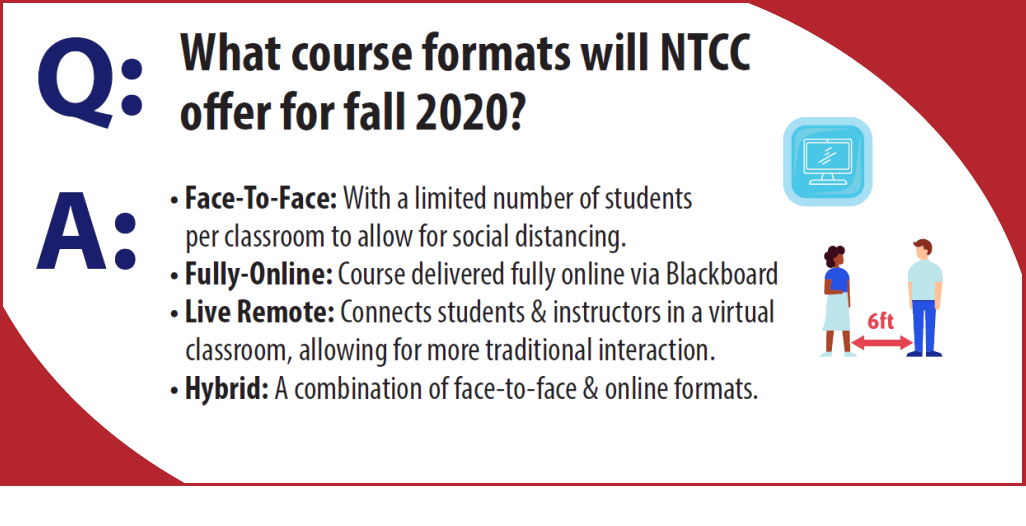 What course formats will NTCC offer for Fall 2020?