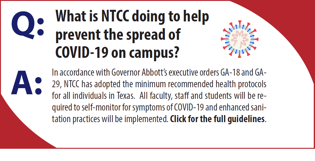 What is NTCC doing to help prevent the spread of COVID-19 on campus?