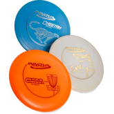 Discs for playing disc golf.