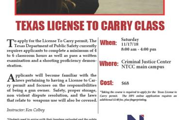 License To Carry Class planned for Nov. 17